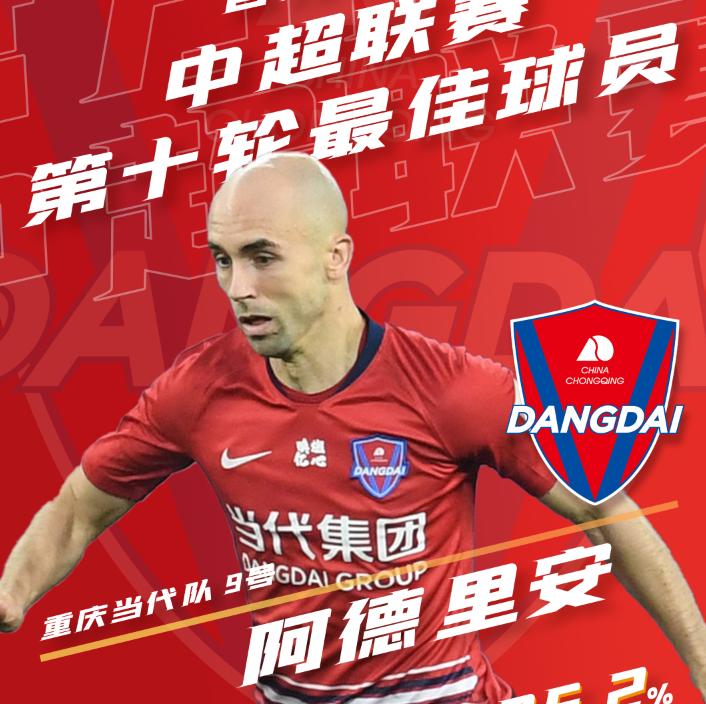 中超联赛第10轮MVP:重庆外援阿德里安1球2助当选 第1张