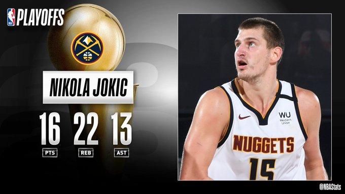 NBA官方评选最佳数据:约基奇16分22板13助攻当选