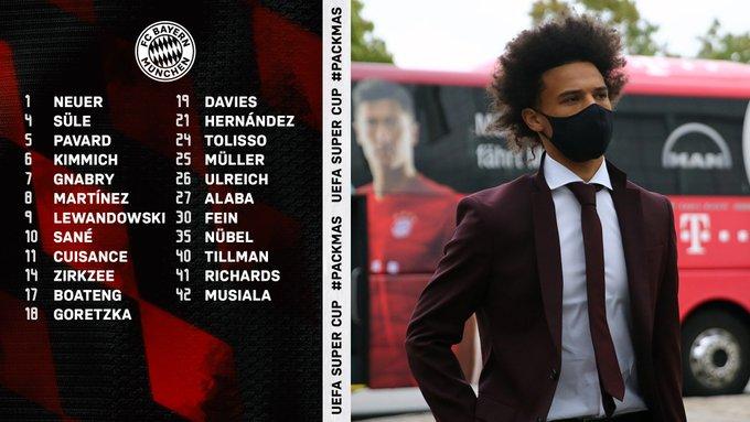 「拜仁哈马受伤」拜仁欧超杯大名单:莱万领衔,哈马、萨内在列