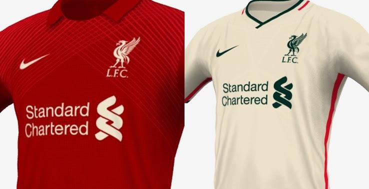 利物浦2020-21赛季球衣概念图曝光:分为红白两色