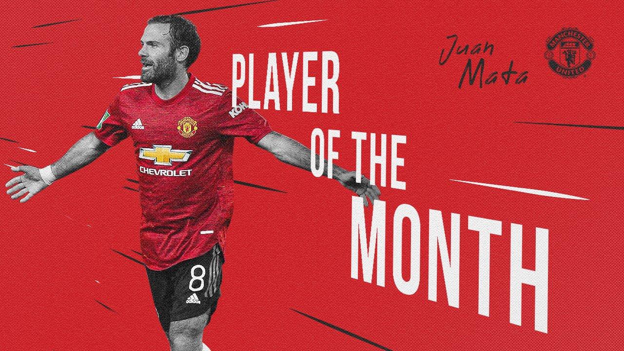 官方:马塔当选为曼联9月最佳球员