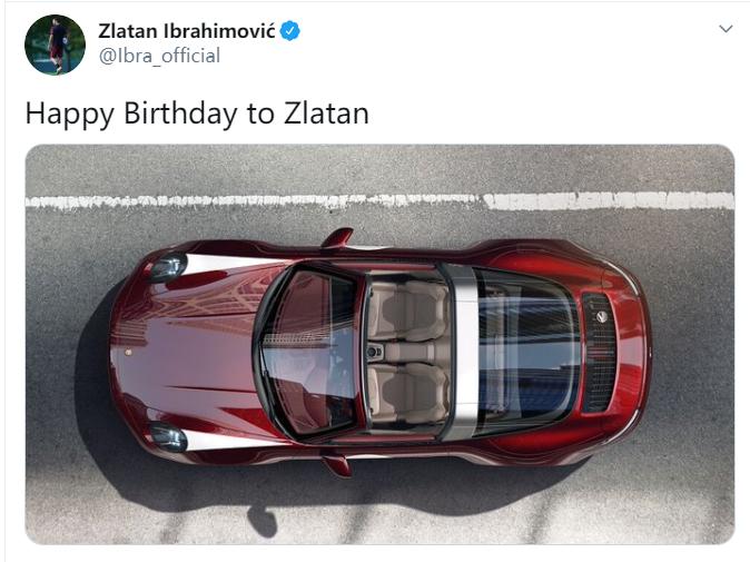 这车很红黑!伊布晒跑车照,为自己庆祝39岁生日