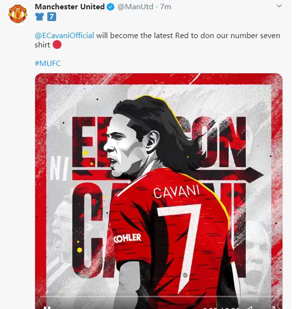 曼联官方:卡瓦尼将身披红魔7号球衣