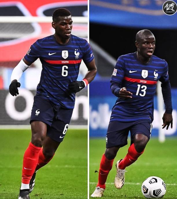 博格巴&坎特一同首发出场,法国队取得19胜6平的不败成绩