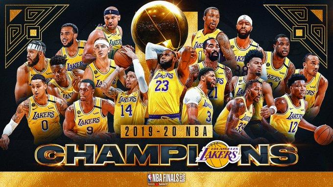 湖人夺得搬至洛杉矶的第12冠,自1980年后夺得11冠