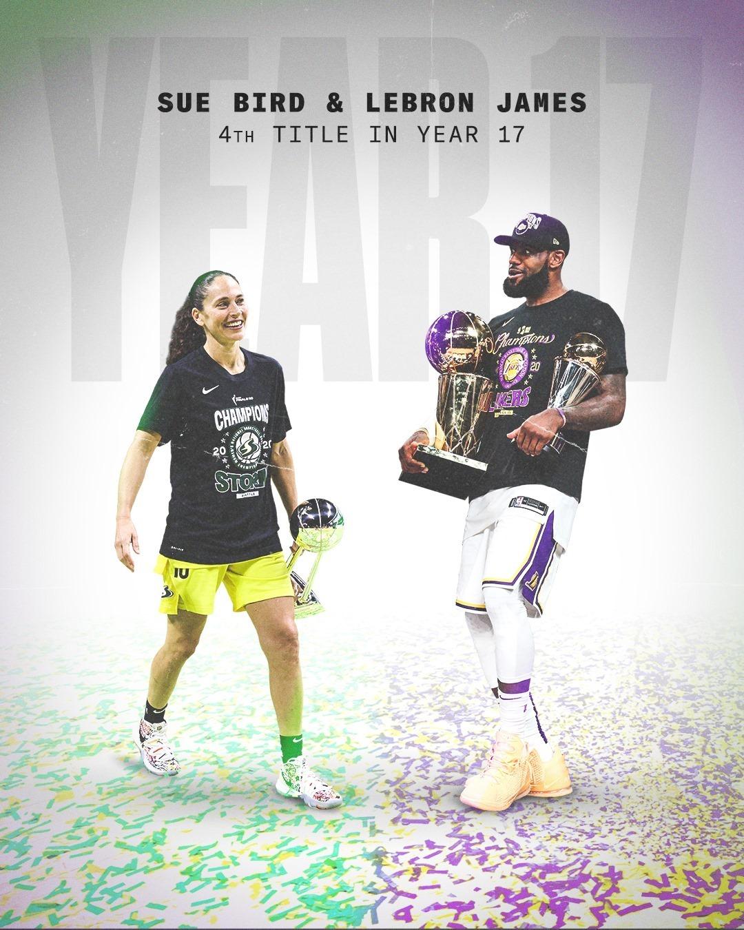 媒体晒詹姆斯和WNBA球星休-伯德:生涯第17个赛季第4冠