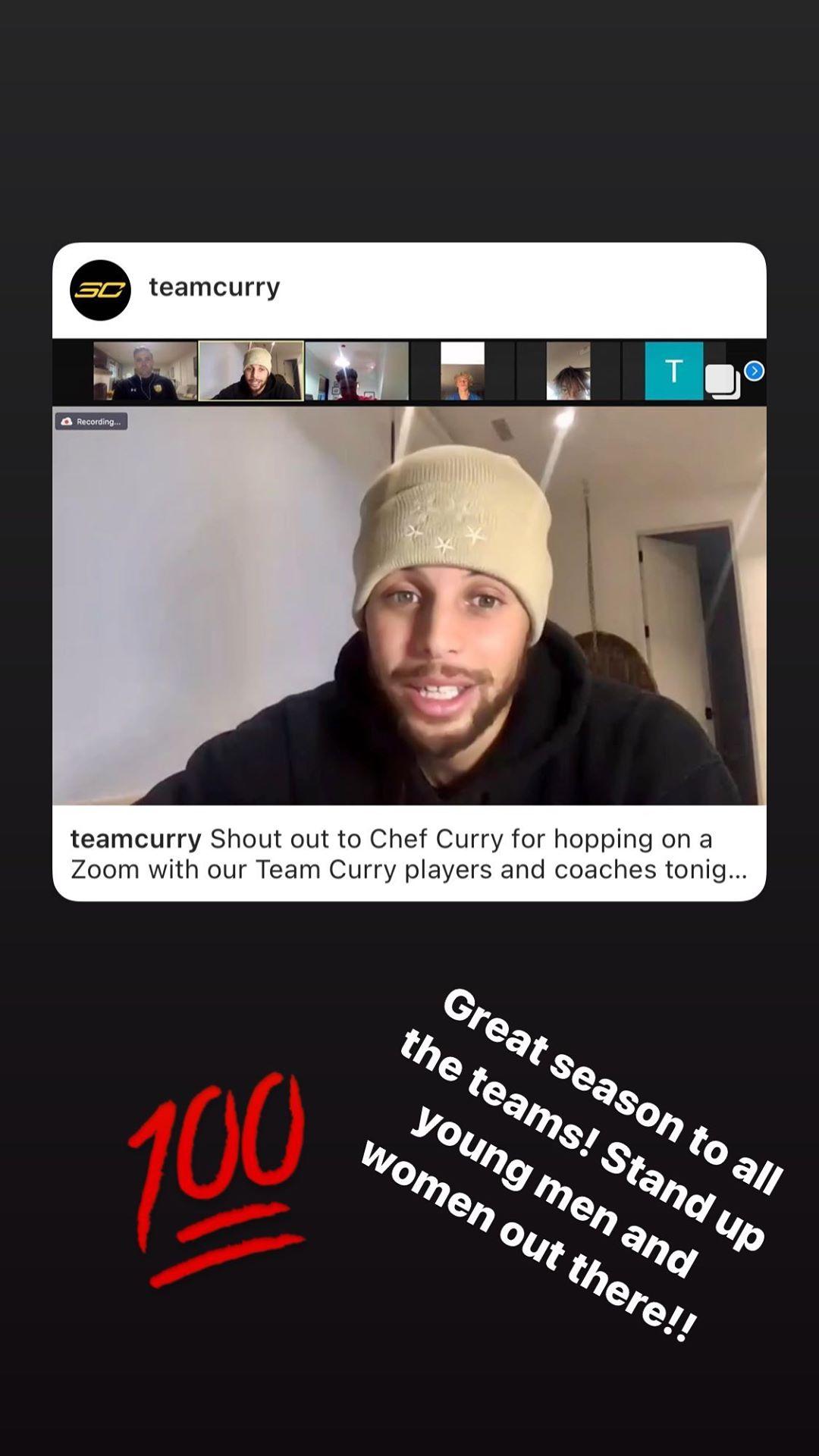 库里与自己AAU球队的球员视频通话:为那些男孩女孩喝彩