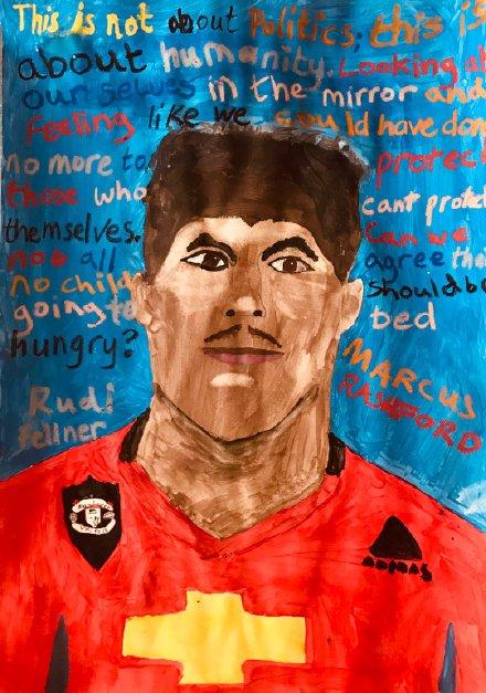 一利物浦小球迷被拉什福德善举感动,为他手绘一幅肖像画