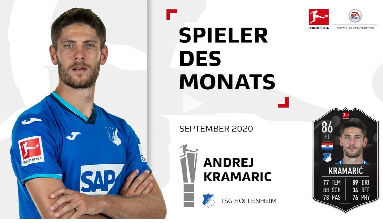 官方:霍芬海姆前锋克拉马里奇当选德甲9月最佳球员