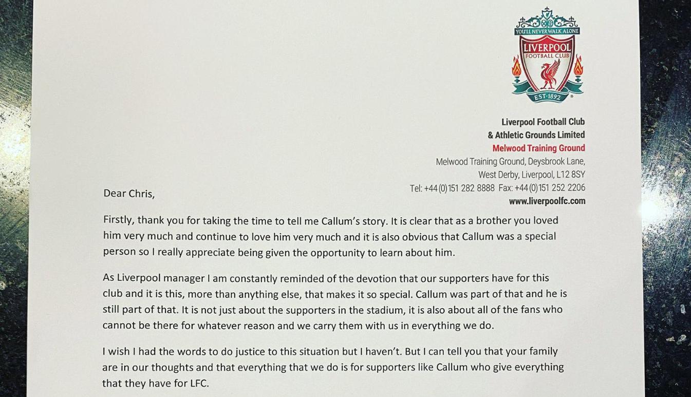 超暖!一利物浦球迷的弟弟因病去世,克洛普写信安慰
