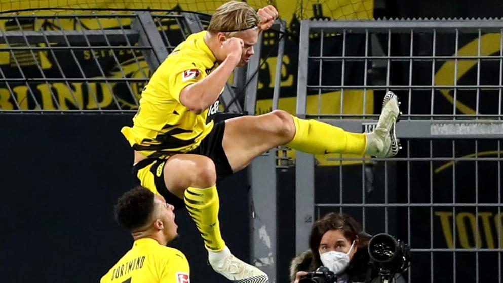 哈兰德前20场德甲打进18球,历史上仅此于乌维-席勒