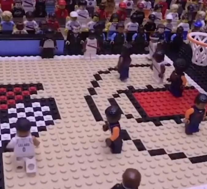 美媒晒出乐高玩具复刻的NBA名场面,利拉德伦纳德JR领衔