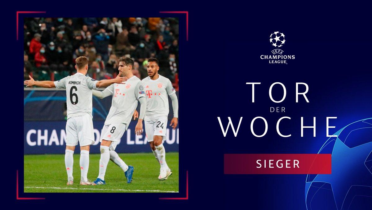 官方:基米希对莫斯科火车头进球当选欧冠周最佳进球