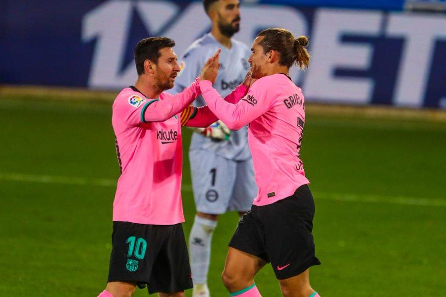 GIF:格列兹曼单刀破门,巴塞罗那扳平比分