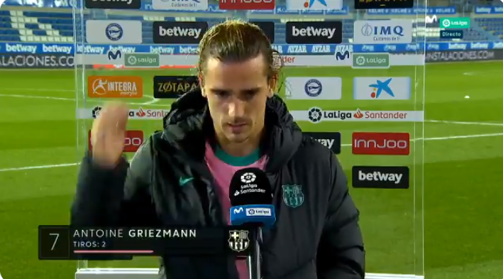 格列兹曼:我错失了很多好机会,巴萨需要我的进球
