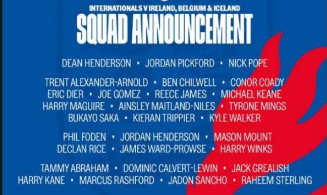 英格兰队大名单:凯恩、拉什福德、斯特林领衔,福登回归
