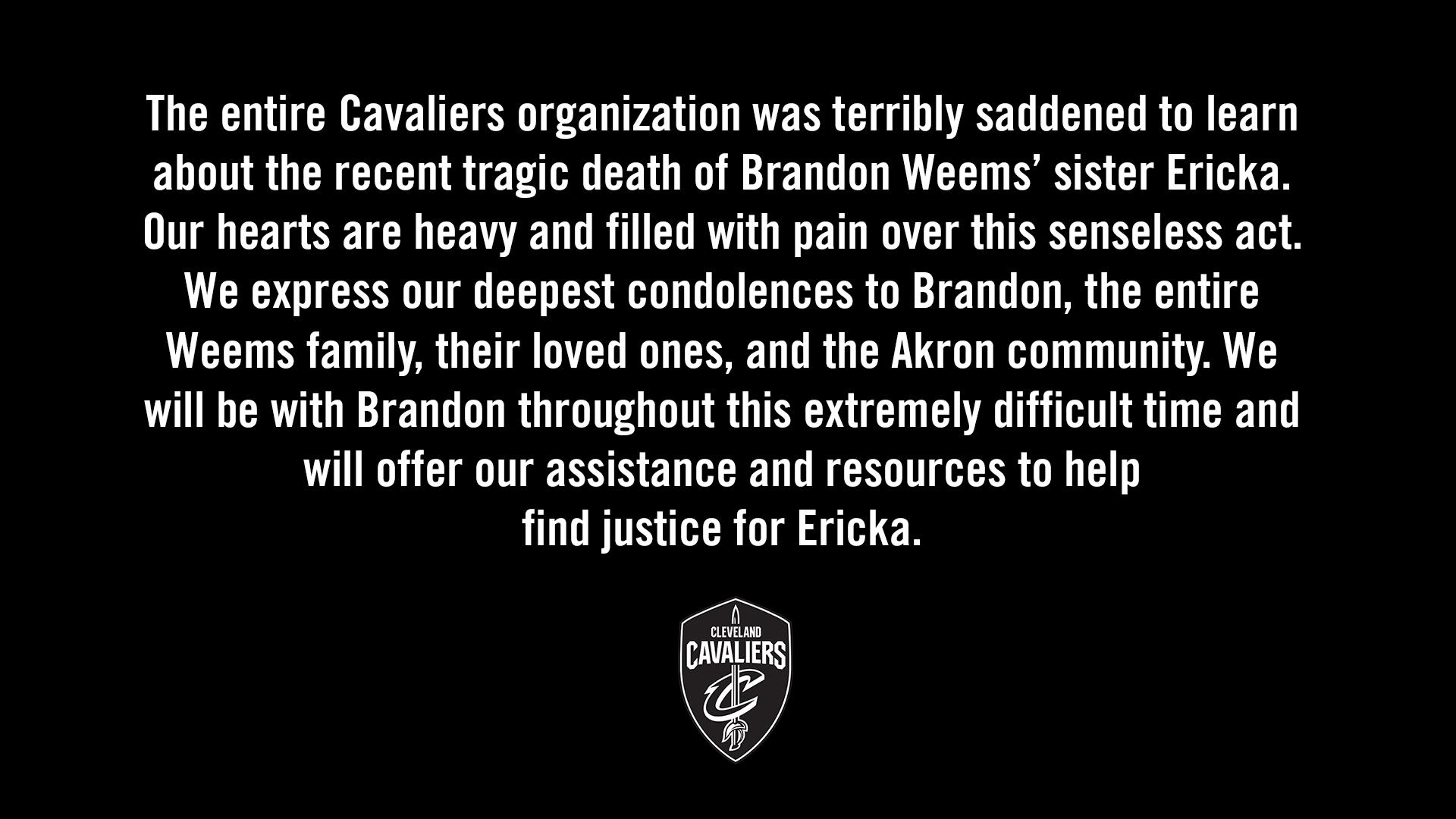 骑士官方就球队官员姐姐遭遇枪杀一事发布声明