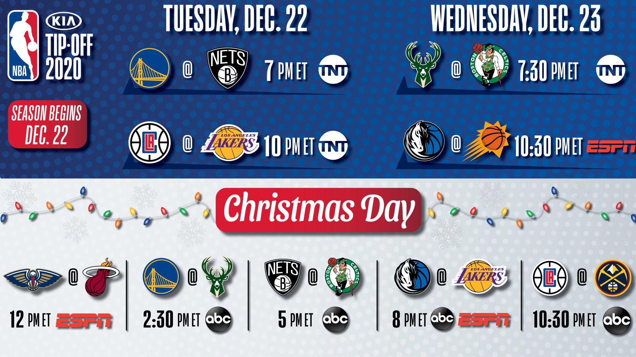 NBA公布部分全国直播赛程:绿军战雄鹿,太阳对阵独行侠